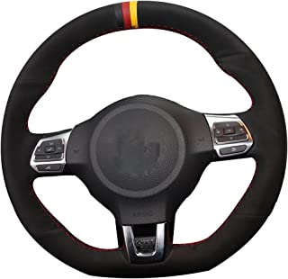 Genuine Leather Suede Steering Wheel Cover for Volkswagen Golf 6 GTI MK6 VW Polo GTI Scirocco R Passat CC R-Line 2010