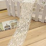 Cinta elástica de encaje de 1 m con diseño de flores, cinta para coser o vestir, faldas, decoración de ropa, manualidades (beige)