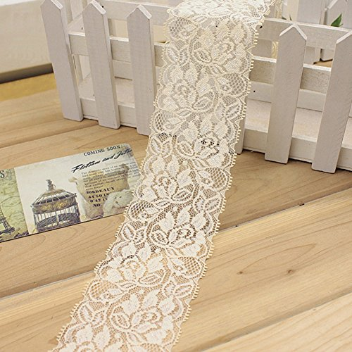 1 M Cinta encaje elástico Flor Cinta estiramiento floral Correa costura Correa encaje Adorno encaje para falda vestir pa Decoración Artesanías bricolaje(Negro)