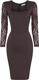 42154e96216 TAM WARE Womens Stylish Lace Long Sleeve Bodycon Zip Midi Dress