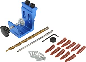 Nishore All in One Pocket Hole Jig Kit Kit de marcenaria para furos de pino de 15 graus Localizador de orifício oblíquo co...