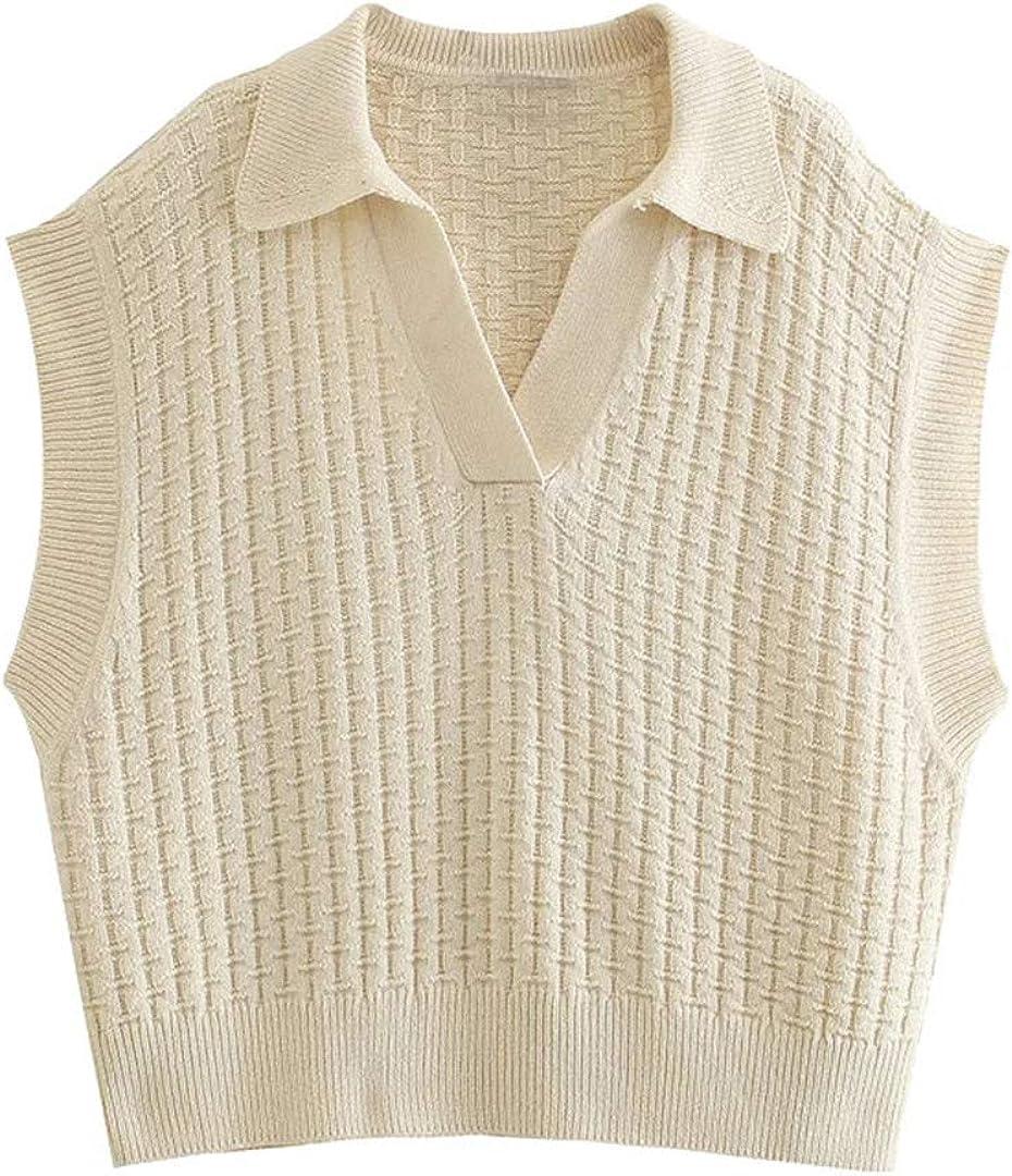 Women Fashion Oversized Knitted Vest Sweater Vintage Lapel Collar Sleeveless Female Waistcoat Chic Tops