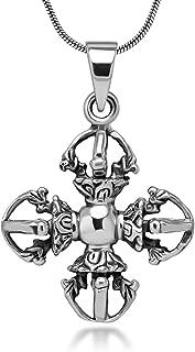Chuvora Sterling Silver Tibetan Buddhist Double Vajra Dorje Phurba 3D Amulet Protection Necklace 18