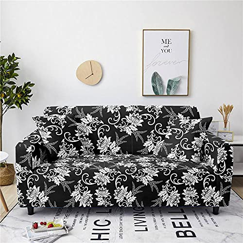 Super Stretch Sofa Covers Couch Covers Sofa Slipcovers for Sofas 1 Seater 3D Printed Black and White Flowers Non Slip Slipcover Furniture Protector with Spandex Fabric Washable Sofa SetModern Style