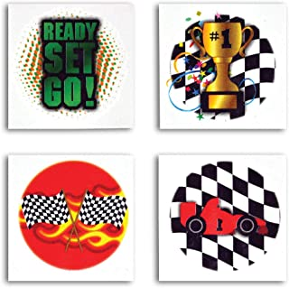 Checkered Flag and Racecar Themed Temporary Tattoos - Pack of 72