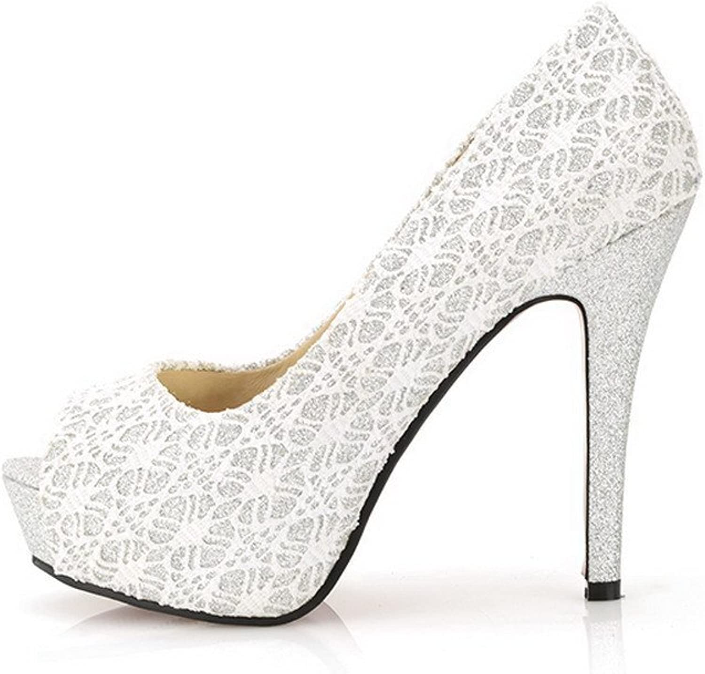 WeiPoot Women's Open Peep Toes Platform High Heel Stiletto PU Soft Material Pumps, White, 34