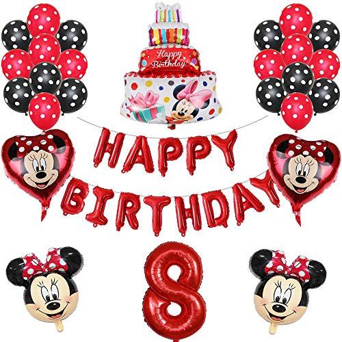 ENXI Globos 1set Disney Minnie Mickey Mouse Party Globos Baby Shower Fiesta de cumpleaños Decoraciones para niños Globos Infantiles Boy Girls Supplies ( Color : Red8 )