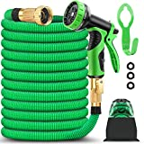 9. BAZOLOTA Garden Hose, Expandable 50FT Water Hose with 9 Function Nozzle, Flexible Gardening Hose with All Brass Connectors, Leakproof Durable Expanding Lightweight Watering Hose Pipe