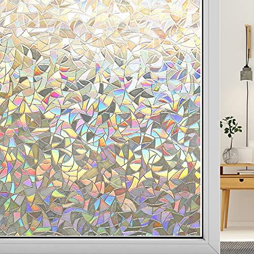Xnuoyo Pellicola per Finestre 3D, Senza Colla Statica, Pellicola per vetri Protezione della Privacy, Decorativa per Finestre Pellicola Anti-UV per Casa Bagno Cucina Ufficio - 40*200CM