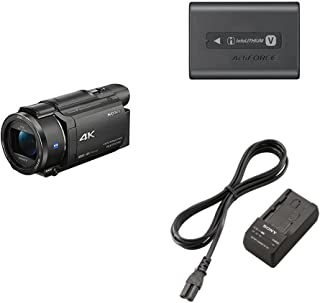 Sony FDRAX53/B 4K HD Video Recording Camcorder (Black) & Sony NP-FV70A V-Series Rechargeable Digital Camera Battery Pack, Black & Sony BCTRV Travel Charger -Black