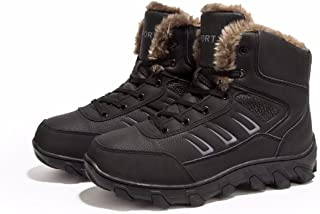 Mens' Winter Snow Boots Platform Heels High Top Shoes Fully Fur Lining Leather Army Work Boot Shoes Sneakers for Boy