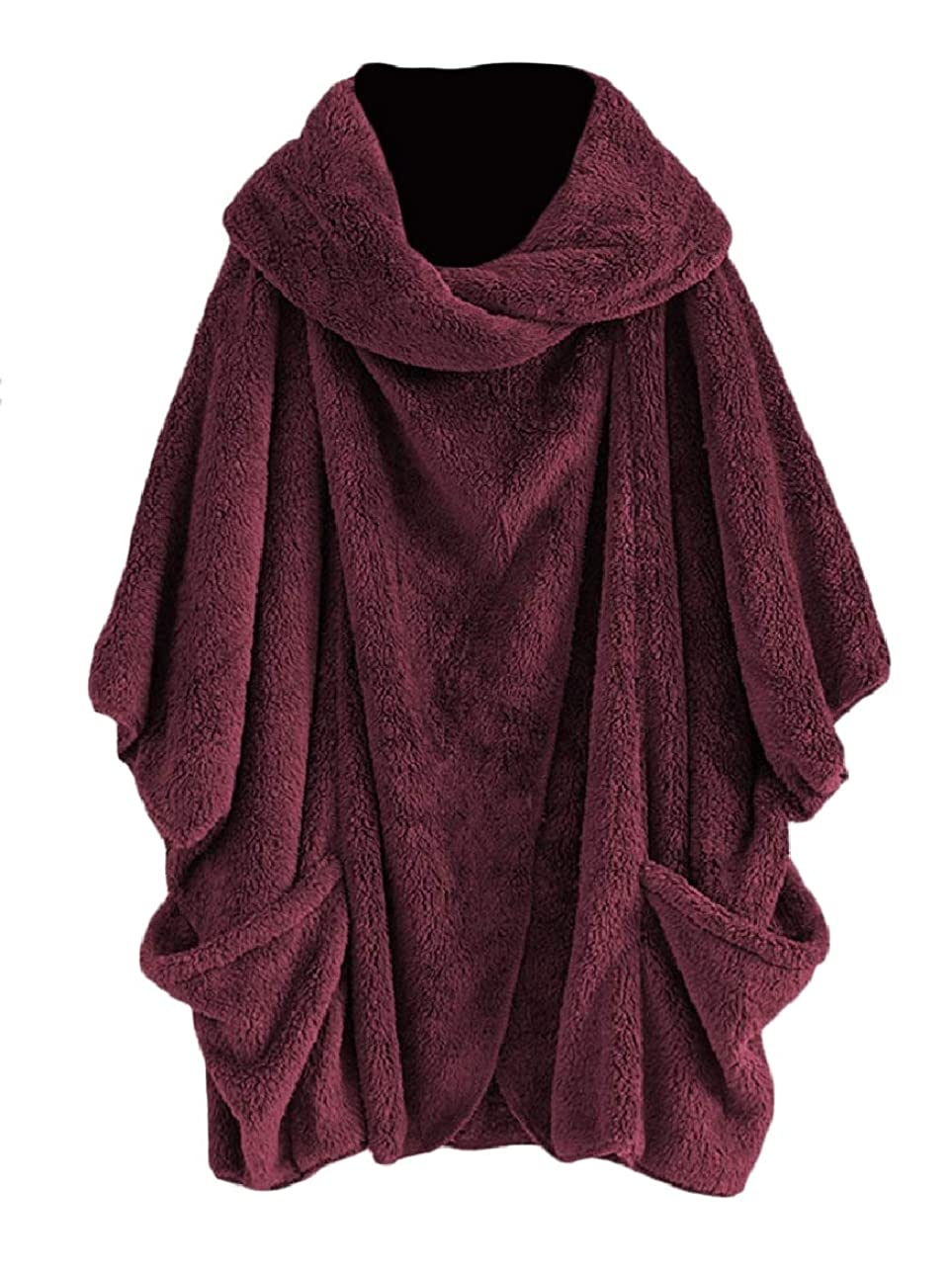 解釈する木材空白VITryst 女性高襟バットスリーブオープンフロントベルベットポケットコートコート