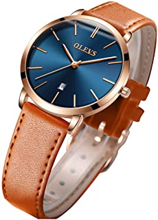 OLEVS Women's Watches for Ladies Female Wrist Watch Leather Band Waterproof Thin Minimalist Fashion Casual Simple Dress Quartz Analog Classic with Date Calendar