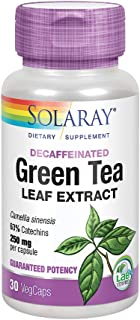 Solaray Green Tea Leaf Extract 250 mg | Healthy Energy, Antioxidant, Mood & Mind Support | Decaffeinated | 30 VegCaps