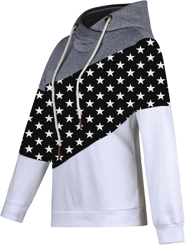 COMVALUE Hoodies for Women,Womens Pullover Sweatshirts Color Block Print Pocket Long Sleeve Drawstring Tops