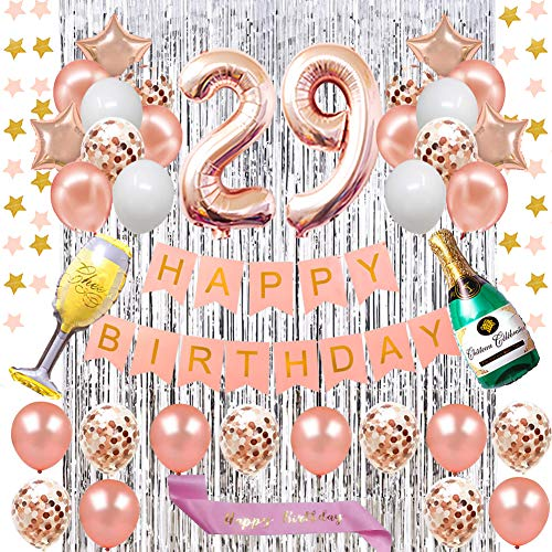 Fancy 29TH Birthday Decorations - Rose Gold Happy Birthday Banner and Rose Gold Number 29 Balloons Latex Confetti balloons Star Banner for Girl and Women 29TH Birthday Foil Curtains Silver