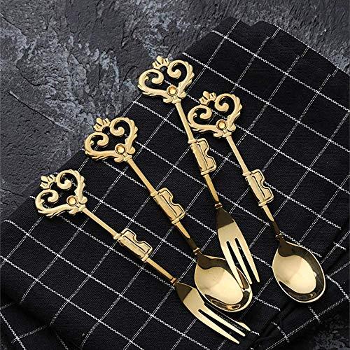 yywl Juego de cubertería con Corona Europea para café y monodosis, Tenedores de Postre, Cubiertos de Color Dorado Vintage, vajilla de Regalo