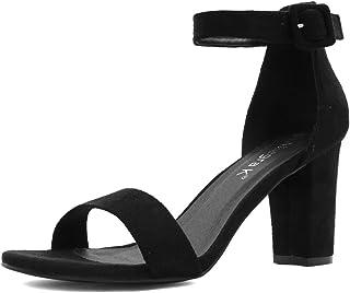 Allegra K Women's High Chunky Heel Buckle Ankle Strap Sandals