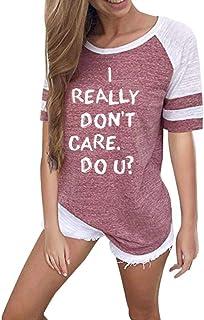 966e1074a86af OrchidAmor Fashion Women Letter Print Short Sleeve Splice Blouse Tops  Clothes T Shirt