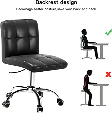 360° Office Desk Chair,PU Adjustable Rolling Task Chair with Backrest for Barber,Office,Home, Computer,360° Swivel,Armless,Bl