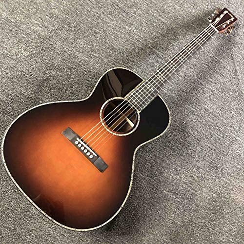Custom AAAA All Solid Wood Right Handed OOO Body Handmade Solid Acoustic Electric Guitar in Sunburst Accept Customized Logo on Headstock
