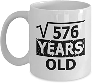 Math Teacher Mug, Coffee Mug 11 OZ - Funny Math Nerd Gifts for Teachers, Students - Square Root Of 576-24 Year Old Birthday - 24th Birthday Gifts Ideas For Guys, Women, Her for Mother's Day