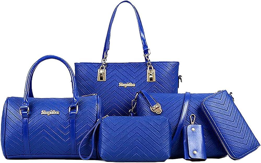 Niyuta, set di 4 borse, 1 portachiavi, 1 portafoglio,  in pelle pu di alta qualità NYT-EU32704