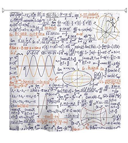 A.Monamour Handgeschriebene Mathematische Formeln Und Zahlen Auf Papier Schulmathematik Berechnung Abstrakter Wasserdichter Duschvorhang Aus Polyestergewebe Mit Haken Für Badezimmer 180x200 cm