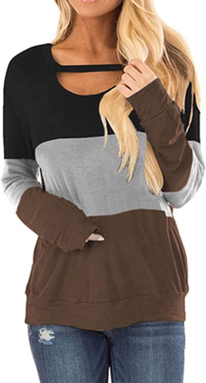 CTEEGC Long Sleeve Tops for Women Hollow- Neck Striped Stitching Tunic Shirt Blousure Loose Patchwork Hem Autumn Shirts Tee