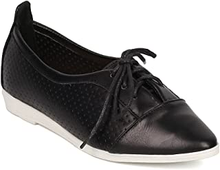 Alrisco Women Leatherette Pointy Toe Lace Up Perforated Flat GI61