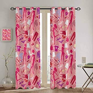 Homrkey Heels and Dresses Fabric Curtain Girl Silhouettes Glamor Clothes Purses Underwear Pattern in Pink Tones for Living Room or Bedroom W52 x L108 Inch Multicolor