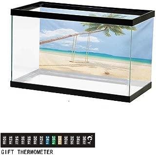 wwwhsl Aquarium Background,Ocean,Palm Leaves and Tropical Beach Coastline Seashore Vacation Theme Photo,Green Sky Blue White Fish Tank Backdrop