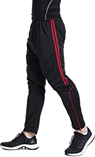 Men's Sweatpants Track Soccer Training Pants Active Jogger Pants Slim Fit Trousers Striped Zipper Pockets