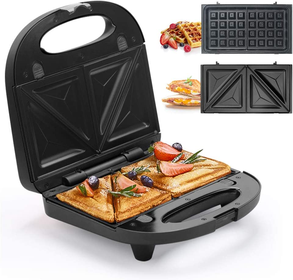 Multifun 2-in-1 Waffle, Omelet and Sandwich Maker with Non-stick Detachable Plates