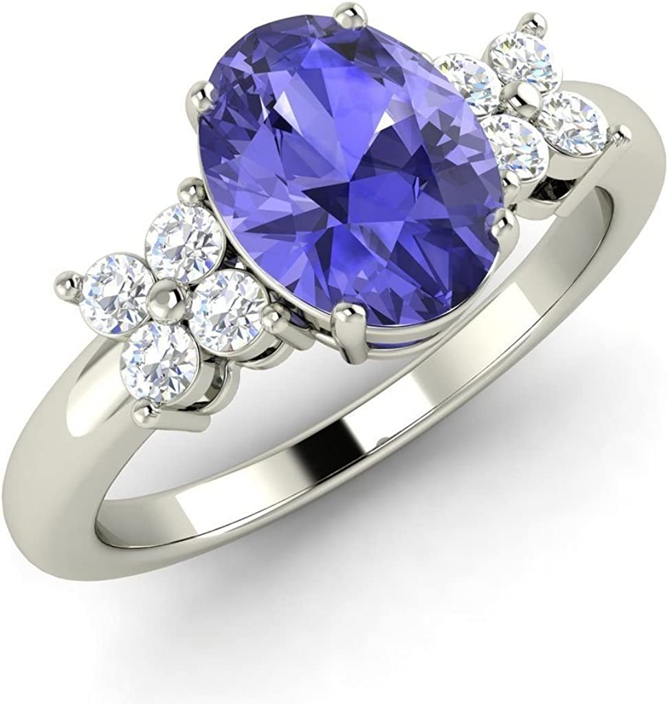 Indefinitely Triostar Women's 1.25 Ct Oval and Excellent Diamond Tanzanite Shape Engage