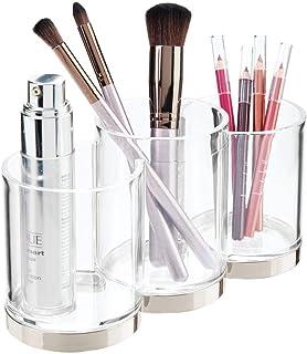 mDesign pojemniki do przechowywania makijażu – uchwyt na pędzle do makijażu Trio do przechowywania pędzli kosmetycznych – ...