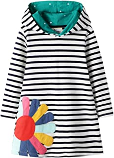 Lausana Girls Long Sleeve Casual Dress Printed Stripe Hoodie Dress 3-7 T