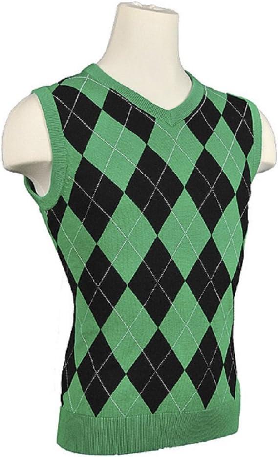 Ranking Choice TOP10 Women's Argyle Golf Sweater Vest Black White Overstitch - Green