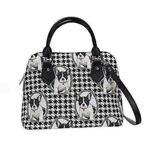 Signare Tapestry Handbag Satchel Bag Shoulder bag and Crossbody Bag and Purse for women with Black and White French Bulldog Design (CONV-FREN)