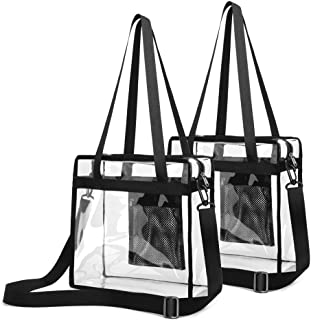 Clear Stadium Bag, Clear Tote Bag NFL Stadium Approved 12 x 12 x 6 Clear Crossbody Bag with Adjustable Shoulder Strap, Zippered Top, Perfect for Stadium, School, Sports Games, Concerts, 2 Pack