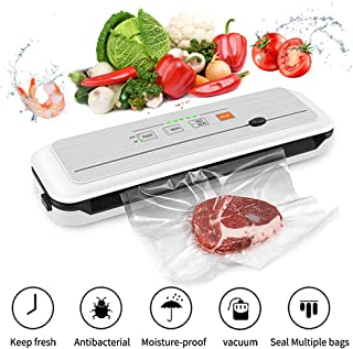 Vacuum Sealer Machine for Food Preservation/ Automatic food sealer machines|Dry & Moist Modes|Led Indicator Lights|UL Safety Certified| Suitable for Use in Camping and Home, with 15 Pcs Vacuum Bags.