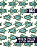 2020 Monthly & Weekly 12 Month Planner: Agenda Calendar for Jan 2020 to Dec 2020 - Cute Sea Turtle Pattern