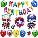 22pcs Globos de Papel de Fiesta de cumpleaños de superhéroe Spiderman,se Aplica a Fiestas de cumpleaños de niños, Decoraciones de Mesa, Birthday Party Supplies