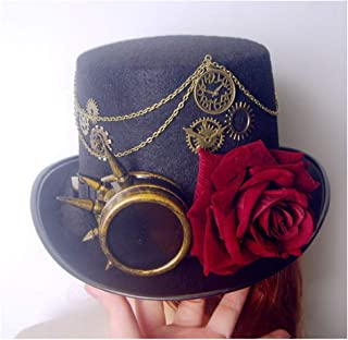 SHENTIANWEI Retro Women Black Steampunk Top Hat with Gear Glasses and Rose Bowler Hat Cosplay Hat Size 57CM