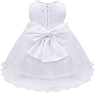 iEFiEL Baby Girls Lace Bowknot Flower Dress Wedding Pageant Baptism  Christening Tutu Gown fd4106ca1008