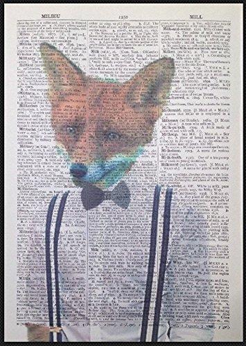 Parksmoonprints - Papillon hipster Fox con papillon e pagina di dizionario vintage