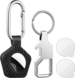 Silicone Airtag Case with Keychain, Shockproof Protective Case for Apple Air Tags, Anti-Scratch Keyring Airtags Holder with Flim Protectors, Airtag Dog Collar Holder Accessories with Carabiner, Black