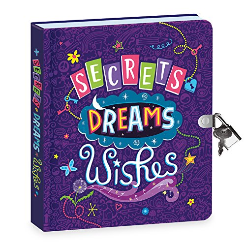 Peaceable Kingdom Secrets, Dreams and Wishes Glow in The Dark 6.25  Lock and Key, Lined Page Diary for Kids