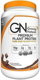 Growing Naturals   Organic Premium Plant Based Protein, Pure Rice Protein Powder   Chocolate Power   Non-GMO, Vegan, Gluten-Free, Keto Friendly, Shelf-Stable   2LB