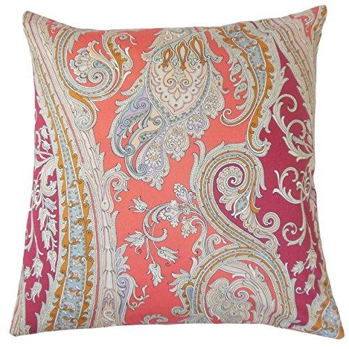The Pillow Collection P18-ROB-FUNPAISLEY-CORALREEF-C100 Efharis Paisley Almohada Arrecife Coral